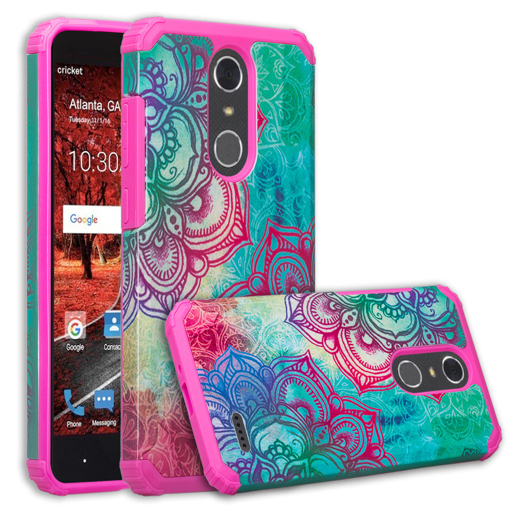 ZTE Blade Spark Z971, ZTE ZMAX One, ZTE Grand X4, X 4 Case, Hybrid Dual  Layer [Shock Resistant] Armor Protective Case Cover - Teal Flower