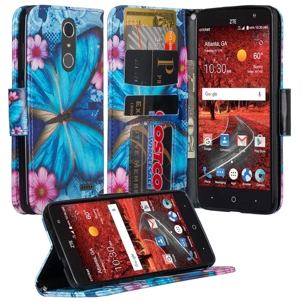 zte grand x4 blue butterfly wallet case - www.coverlabusa.com