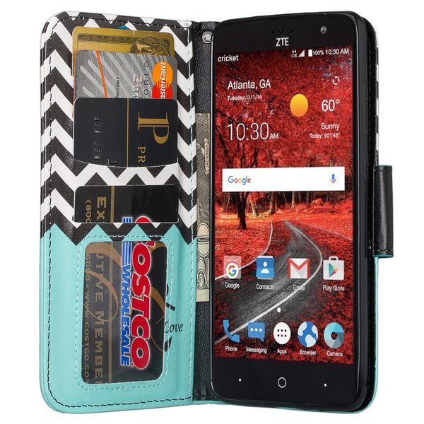 zte grand x4 teal anchor wallet case - www.coverlabusa.com