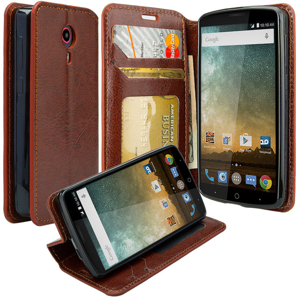 ZTE Ultra Case | ZTE Uhura | ZTE Quest Wallet Case - brown - www.coverlabusa.com