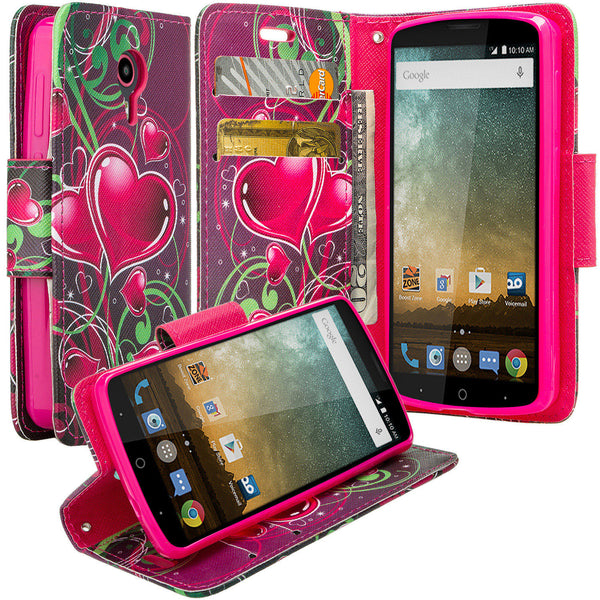 ZTE Ultra Case | ZTE Uhura | ZTE Quest Wallet Case - heart butterflies - www.coverlabusa.com