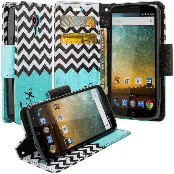 ZTE Ultra Case | ZTE Uhura | ZTE Quest Wallet Case - Teal Anchor - www.coverlabusa.com