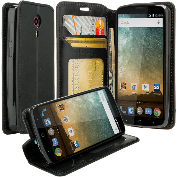 ZTE Ultra Case | ZTE Uhura | ZTE Quest Wallet Case - Black - www.coverlabusa.com