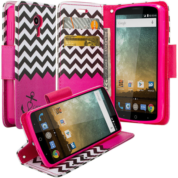 ZTE Ultra Case | ZTE Uhura | ZTE Quest Wallet Case - hot pink anchor - www.coverlabusa.com