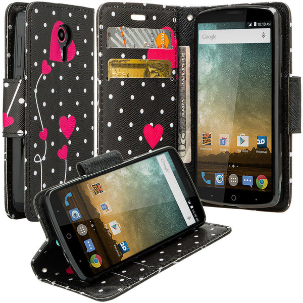 ZTE Ultra Case | ZTE Uhura | ZTE Quest Wallet Case - Polka Dot Hearts - www.coverlabusa.com