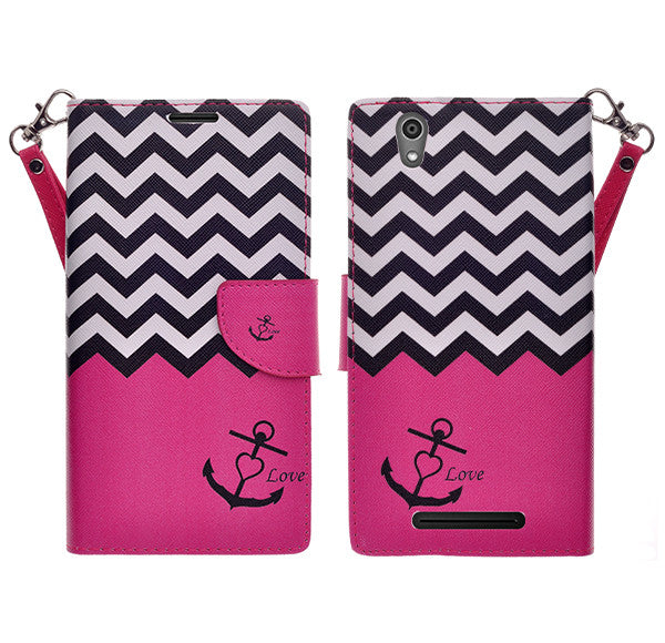 ZTE ZMAX leather wallet case - hot pink anchor - www.coverlabusa.com