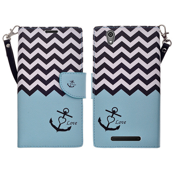 ZTE ZMAX leather wallet case - teal anchor - www.coverlabusa.com