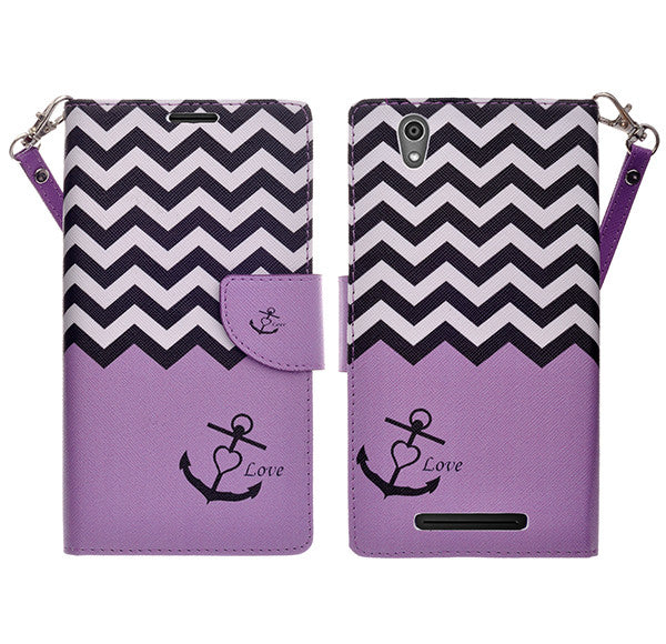 ZTE ZMAX leather wallet case - purple anchor - www.coverlabusa.com