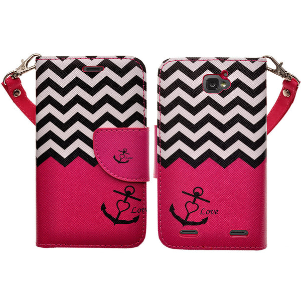 ZTE Zephyr leather wallet case - hot pink anchor - www.coverlabusa.com