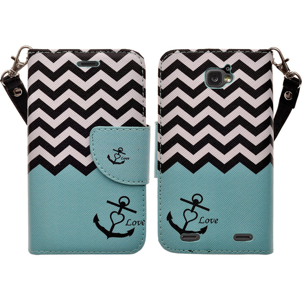 ZTE Zephyr leather wallet case - teal anchor - www.coverlabusa.com