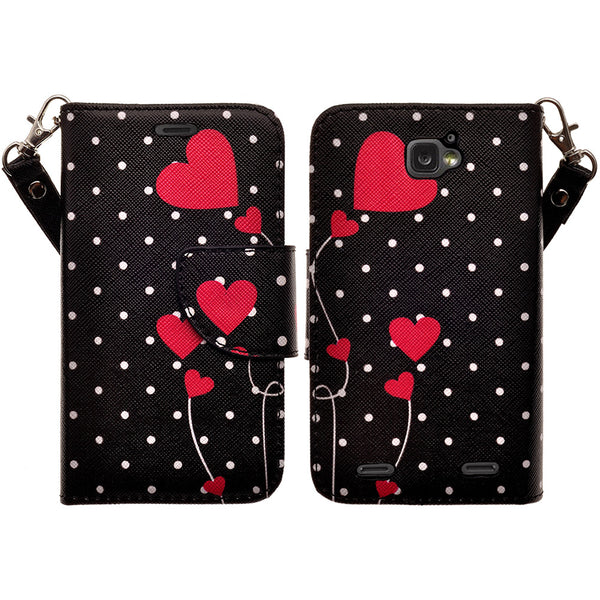 ZTE Zephyr leather wallet case - polka dots - www.coverlabusa.com