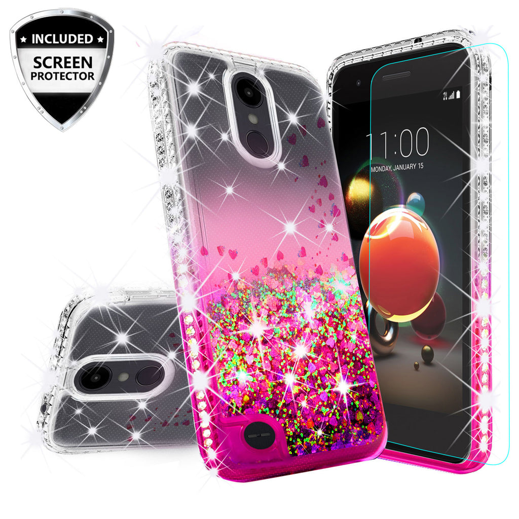 pretty nice 93b40 ee5d3 LG Aristo 2 Case, Aristo 2 Plus Case Liquid Glitter Phone Case Waterfall  Floating Quicksand Bling Sparkle Cute Protective Girls Women Cover for  Aristo ...