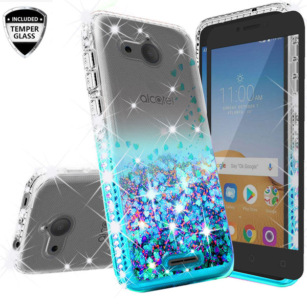 clear liquid phone case for alcatel tetra - teal - www.coverlabusa.com