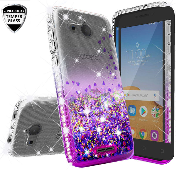 clear liquid phone case for alcatel tetra - purple - www.coverlabusa.com