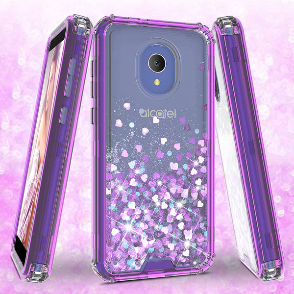 hard clear glitter phone case for alcatel 1x evolve - purple - www.coverlabusa.com