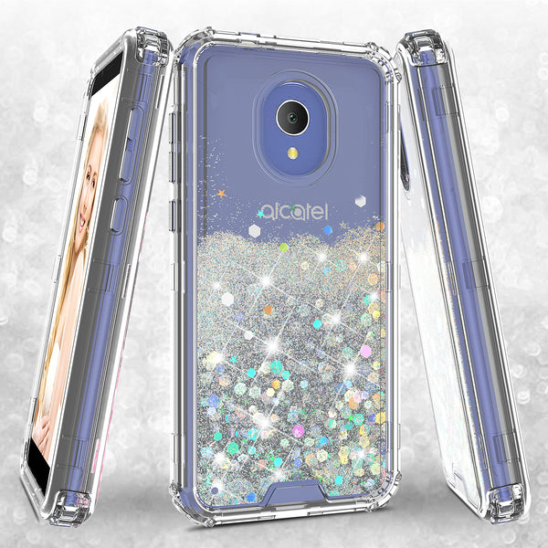 hard clear glitter phone case for alcatel 1x evolve - clear - www.coverlabusa.com