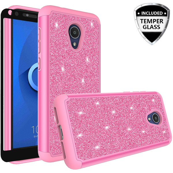 Alcatel 1x Evolve Glitter Hybrid Case - Hot Pink - www.coverlabusa.com