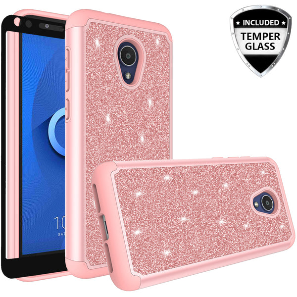 Alcatel 1x Evolve Glitter Hybrid Case - Rose Gold - www.coverlabusa.com