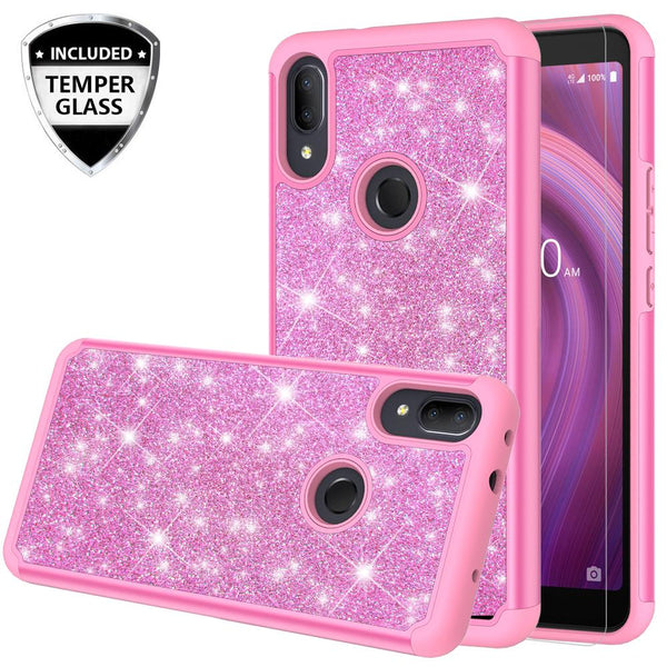 Alcatel 3V (2019) Glitter Hybrid Case - Hot Pink - www.coverlabusa.com