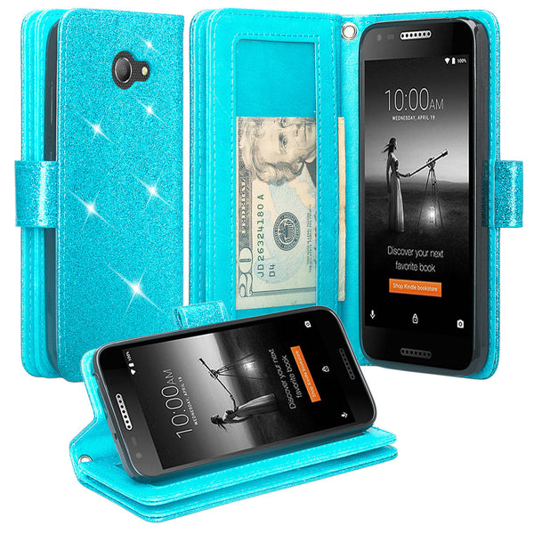 Alcatel A30 Glitter Wallet Case - Teal - www.coverlabusa.com
