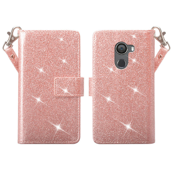 Alcatel A30 Plus Glitter Wallet Case - Rose Gold - www.coverlabusa.com