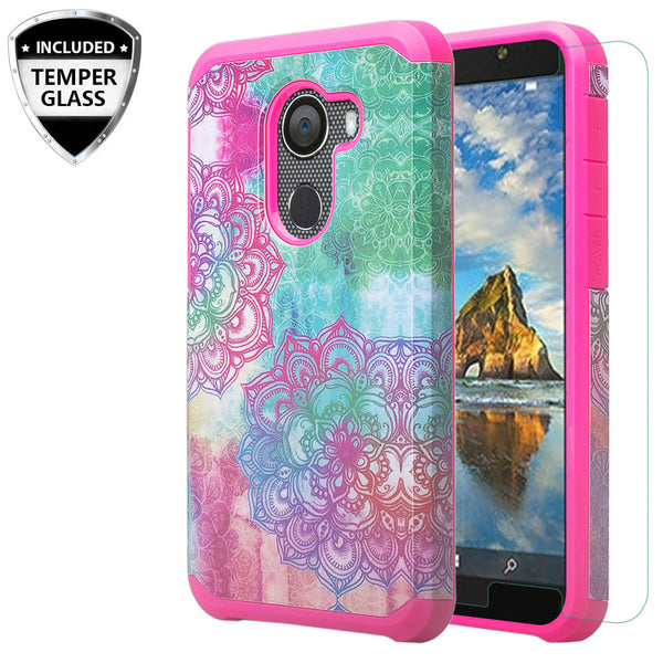 alcatel a30 plus hybrid case - teal flower - www.coverlabusa.com