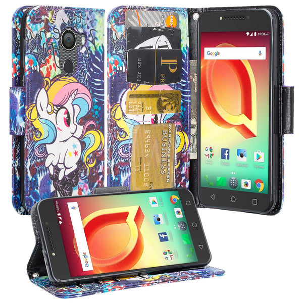 Alcatel A30 Plus Wallet Case - Rainbow Unicorn - www.coverlabusa.com