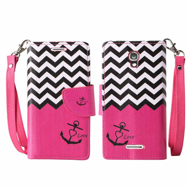 Alcatel OneTouch Elevate wallet case -Hot Pink Anchor - www.coverlabusa.com