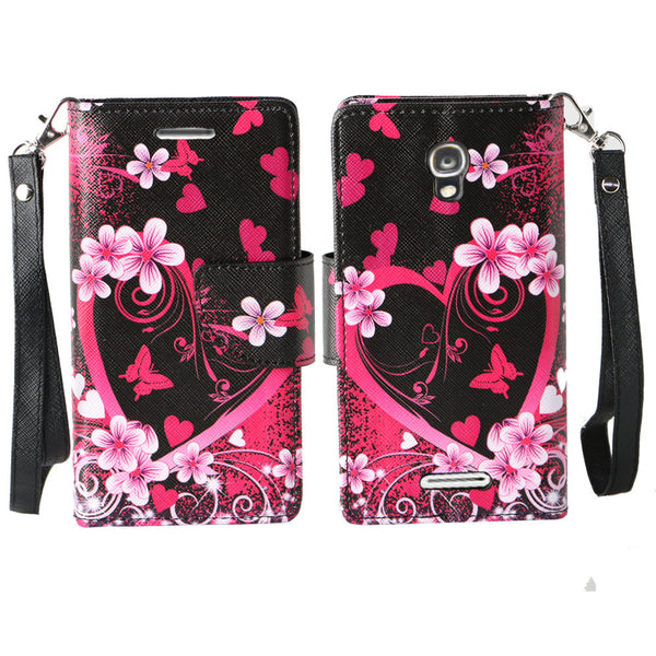 Alcatel OneTouch Elevate wallet case - Heart Butterflies - www.coverlabusa.com