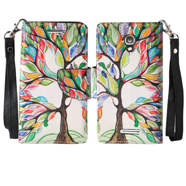 Alcatel OneTouch Elevate wallet case - Colorful Tree - www.coverlabusa.com