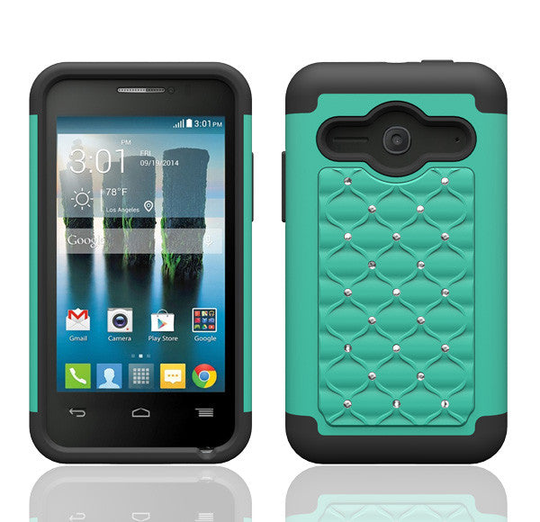 size 40 7922a f9e59 Alcatel Onetouch Evolve 2 Rhinestone Case , Slim Hybrid Dual Layer[Shock  Resistant] Crystal Rhinestone Studded Case Cover - Teal/Black