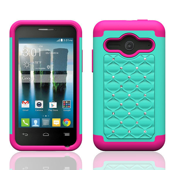 Alcatel Onetouch Evolve 2 Rhinestone Case - Teal/Hot Pink - www.coverlabusa.com
