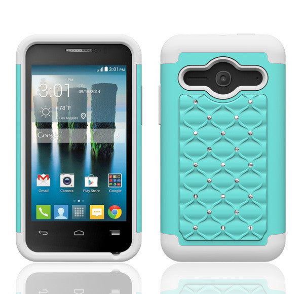 Alcatel Onetouch Evolve 2 Rhinestone Case - Baby Teal/White - www.coverlabusa.com