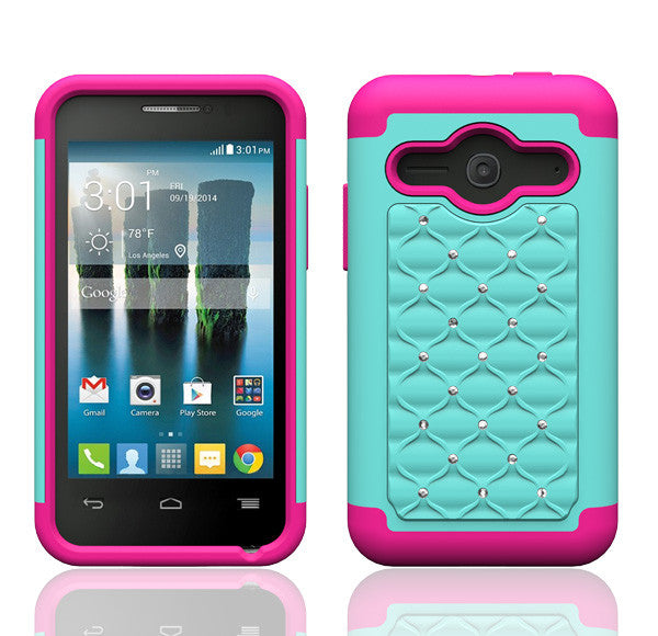 Alcatel Onetouch Evolve 2 Rhinestone Case - Bayb Teal/Hot Pink - www.coverlabusa.com