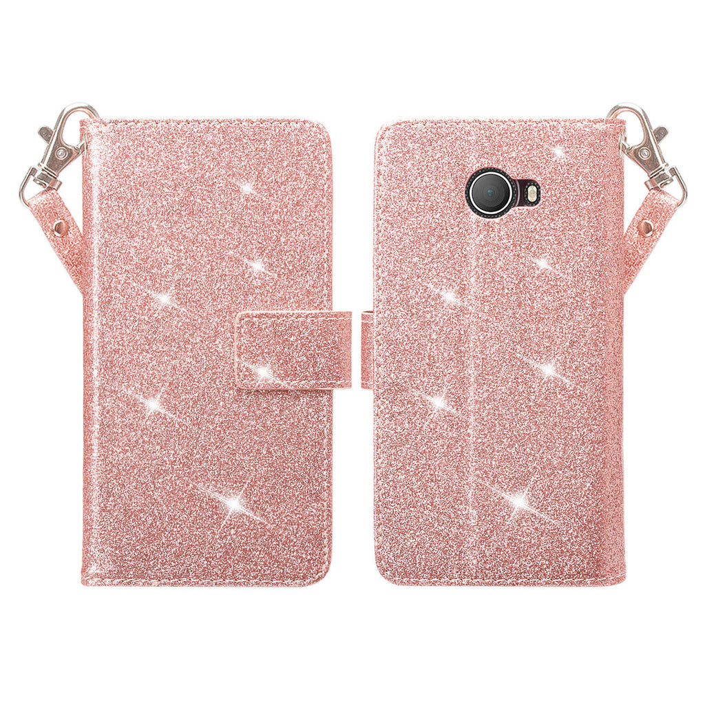 Jitterbug Smart 2 Case, Magnetic Flip Fold Kickstand Glitter Bling Leather Wallet Cover with ID & Credit Card Slots - Rose Gold - www.coverlabusa.com