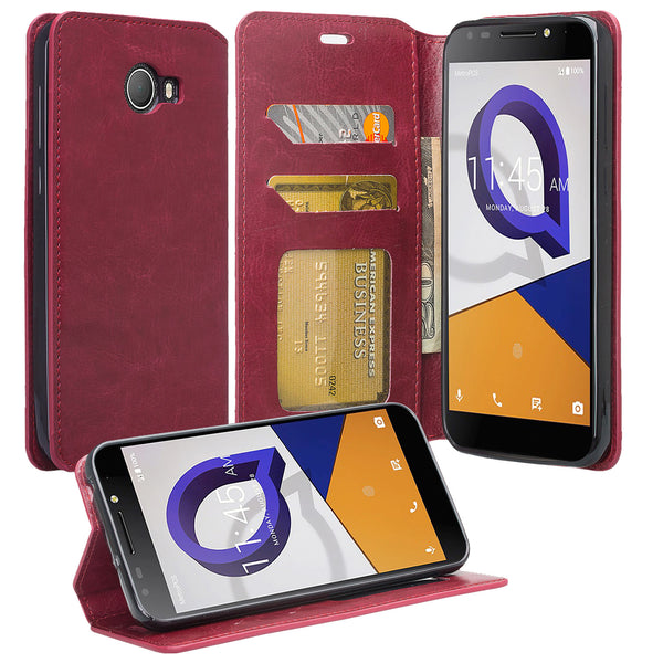 Jitterbug Smart 2 Smart2 Case, Magnetic Flip Fold Kickstand Leather Wallet Cover with ID & Credit Card Slots - Maroon - www.coverlabusa.com
