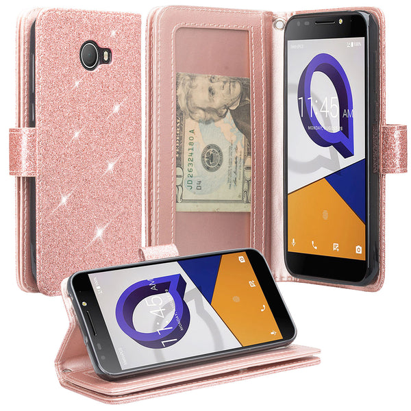 Alcatel Fierce XL2 Glitter Wallet Case - Rose Gold - www.coverlabusa.com