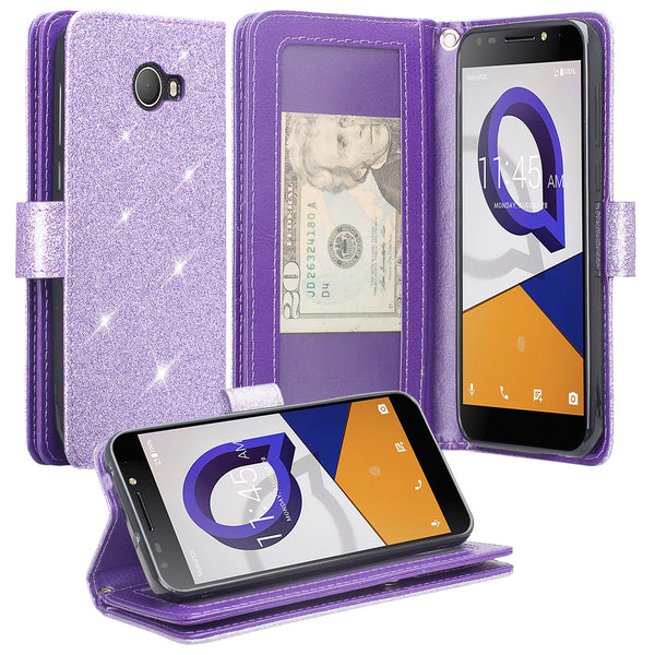 Alcatel Fierce XL2 Glitter Wallet Case - Purple - www.coverlabusa.com