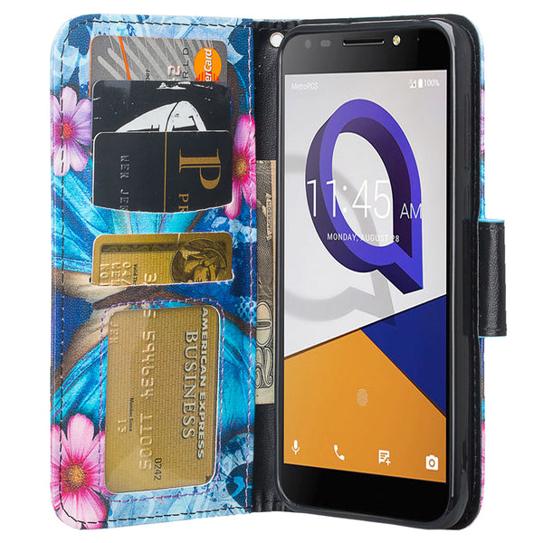Jitterbug Smart 2 Case, Magnetic Flip Fold Kickstand Leather Wallet Cover with ID & Credit Card Slots - Heart Butterflies - www.coverlabusa.com