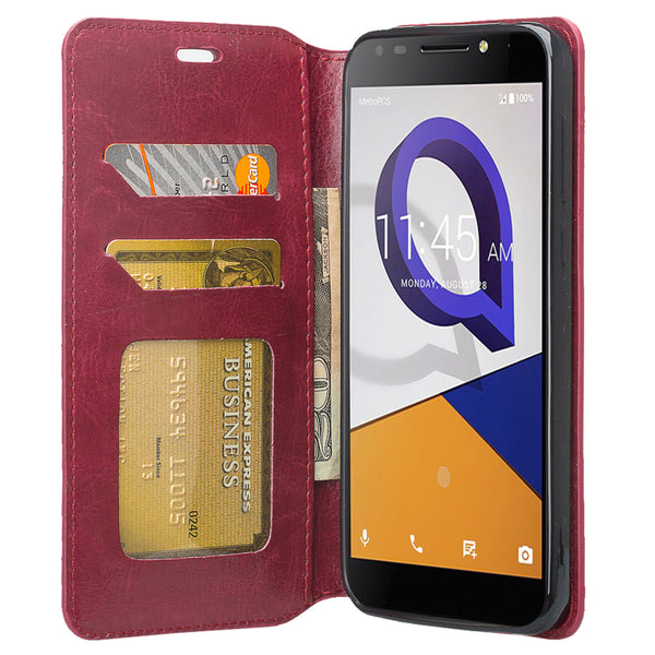 Jitterbug Smart 2 Smart2 Case, Magnetic Flip Fold Kickstand Leather Wallet Cover with ID & Credit Card Slots - Maroon