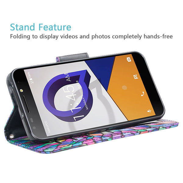 alcatel fierce xl2 wallet case - rainbow flower - www.coverlabusa.com