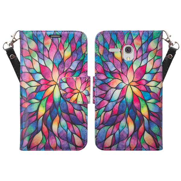 Alcatel Pixi Glory, Flint Case, Fierce XL, Jitterbug Smart Wallet Case - Rainbow Flower - WWW.COVERLAB.USA