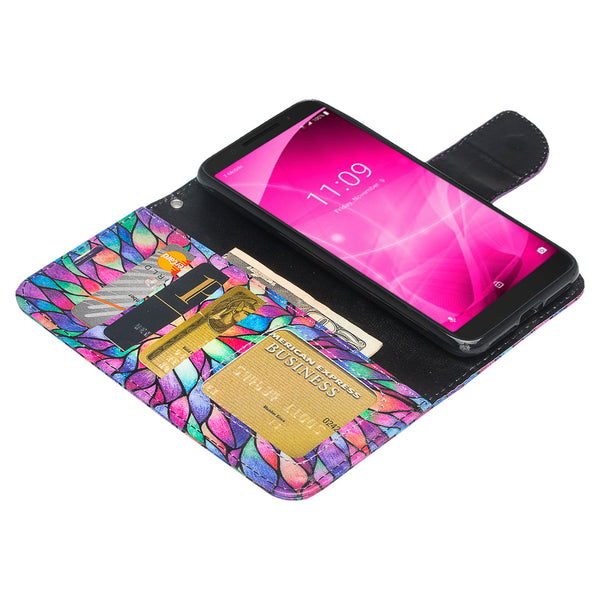 alcatel revvl 2 wallet case - rainbow flower - www.coverlabusa.com