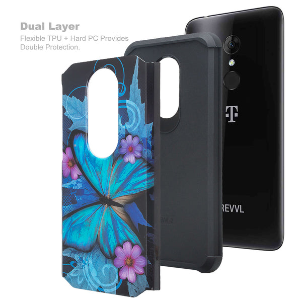 alcatel revvl 2 hybrid case - blue butterfly - www.coverlabusa.com