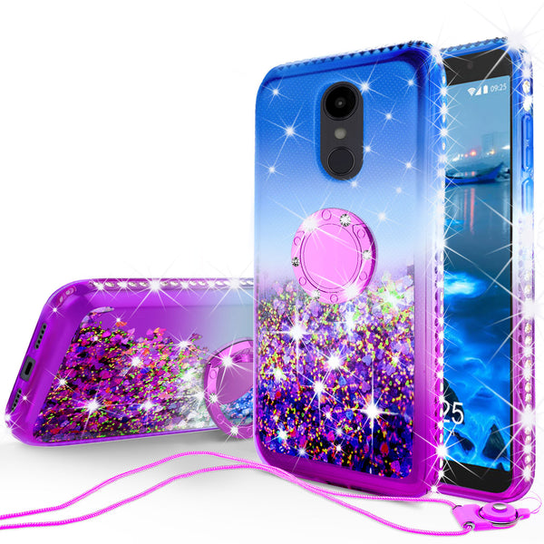 glitter ring phone case for alcatel revvl 2 - blue gradient - www.coverlabusa.com