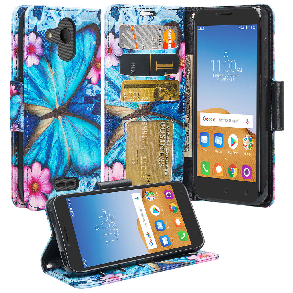 alcatel tetra wallet case - blue butterfly - www.coverlabusa.com