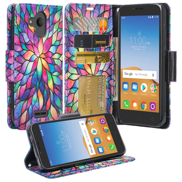 alcatel tetra wallet case - rainbow flower - www.coverlabusa.com