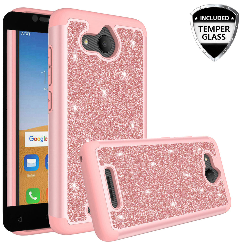 designer fashion 6b2b9 866a6 Alcatel Tetra Case, Tetra Glitter Bling Heavy Duty Shock Proof Hybrid Case  with [HD Screen Protector] Dual Layer Protective Phone Case Cover for ...