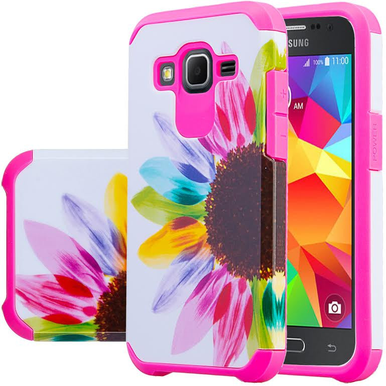 new arrival 2def1 7f8d9 Galaxy Core Prime Case, Samsung Galaxy Core Prime [Impact Resistant] Hybrid  Dual Layer Armor Defender Protective Case Cover for Core Prime, Sun Flower