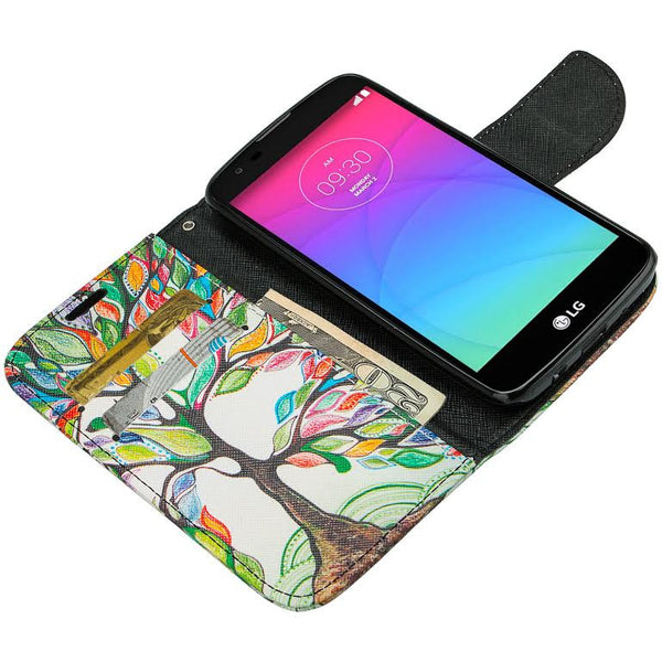 LG K10 Case / LG Premier LTE Wallet Case, Wrist Strap [Kickstand] Pu Leather Wallet Case with ID & Credit Card Slots - colorful tree www.coverlabusa.com